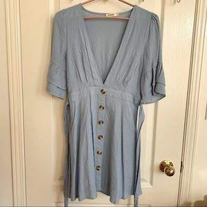 Honey Boutique Essue Blue Dress with Buttons Small
